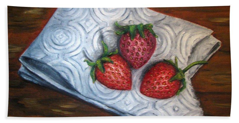 Strawberries Beach Sheet featuring the painting Strawberries-3 Contemporary Oil Painting by Natalja Picugina