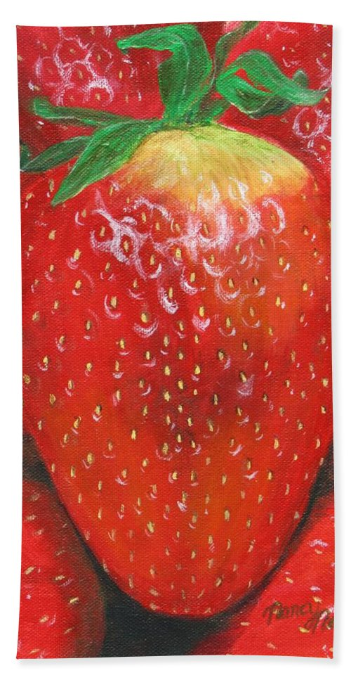Strawberries Beach Towel featuring the painting Strawberries by Nancy Nale