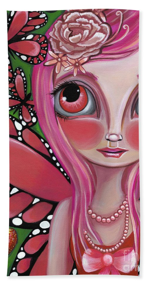Art Beach Towel featuring the painting Strawberry Butterfly Fairy by Jaz Higgins