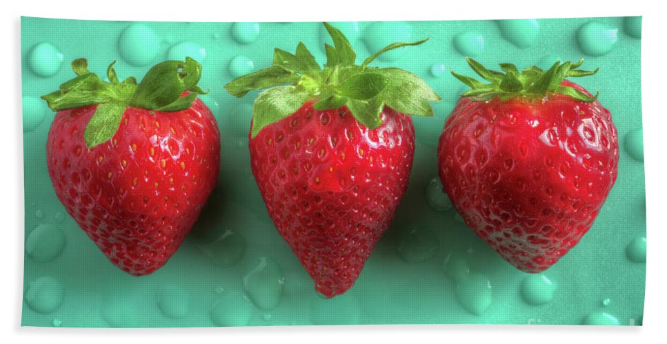 Aligned Beach Towel featuring the photograph Strawberry Fresh Three by Carlos Caetano