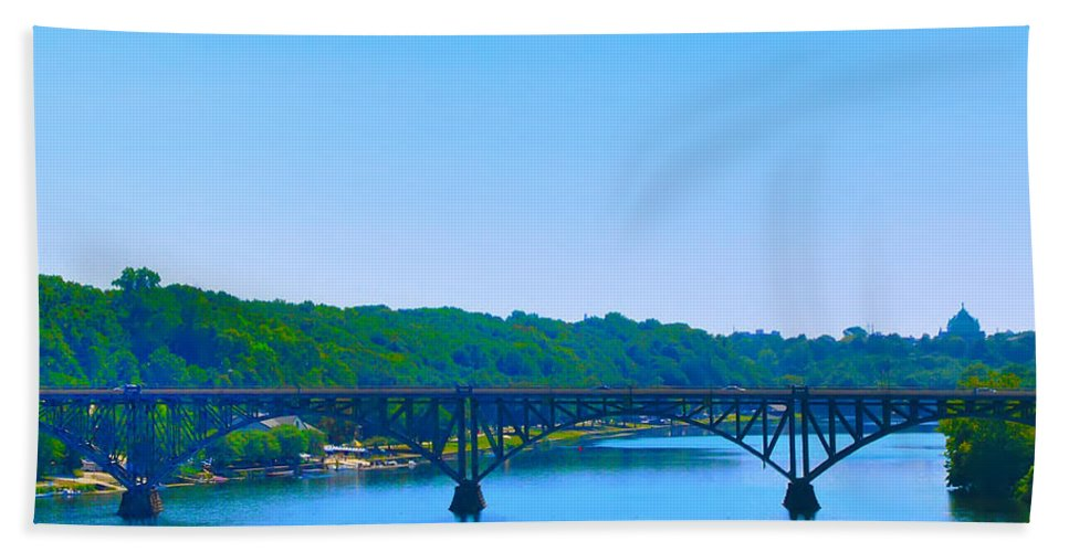 Strawberry Mansion Beach Towel featuring the photograph Strawberry Mansion Bridge From Laurel Hill by Bill Cannon
