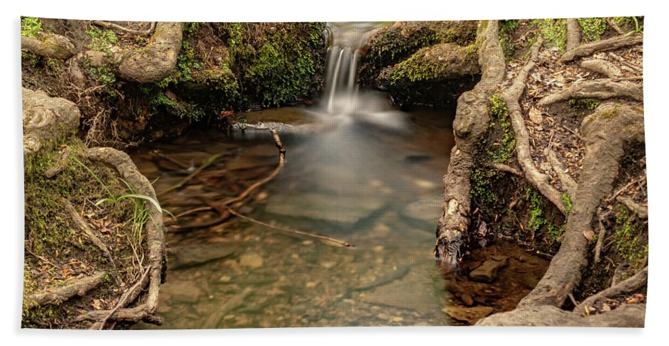 Judy Woods Beach Towel featuring the photograph Stream In Judy Woods by Mike Walker