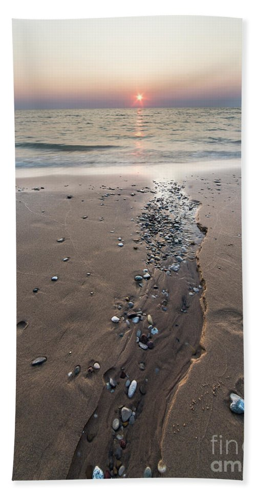 Pierport Beach Towel featuring the photograph Stream To Lake Michigan by Twenty Two North Photography