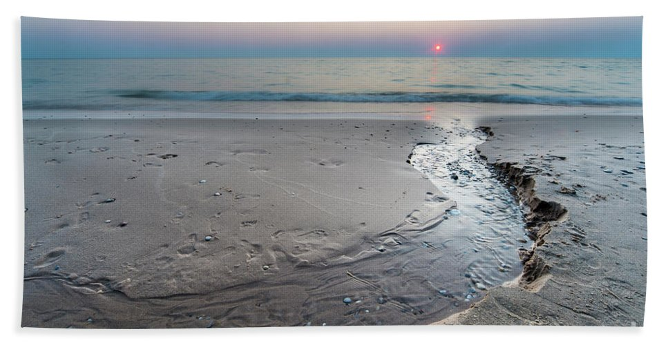 Pierport Beach Towel featuring the photograph Stream To The Sunset by Twenty Two North Photography