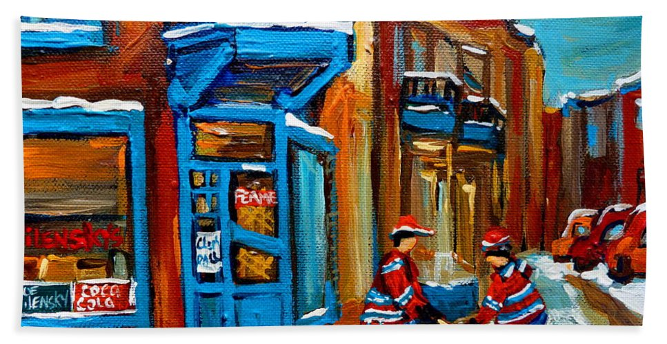 Wilenskys Beach Towel featuring the painting Street Hockey At Wilensky's Montreal by Carole Spandau