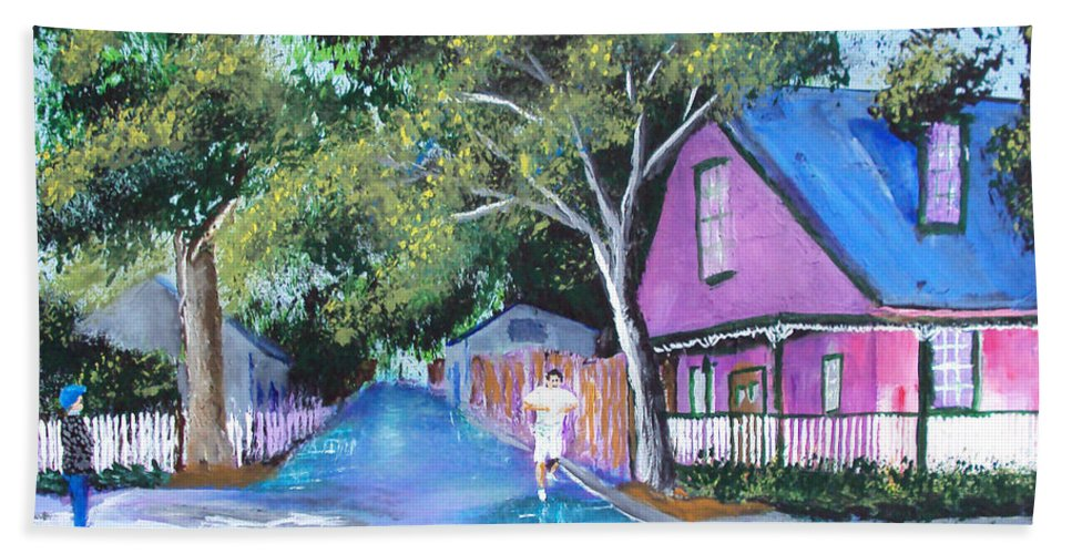 Beach Towel featuring the painting Street In St Augustine by Luis F Rodriguez