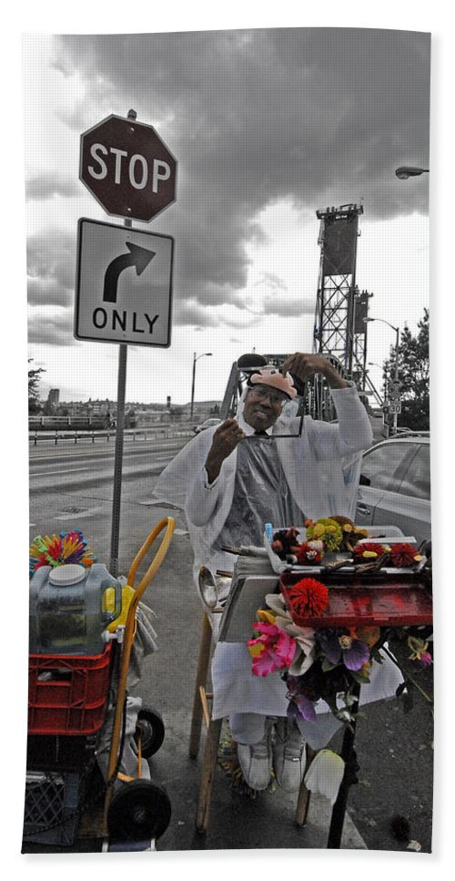 Street Beach Towel featuring the photograph Street Jester by Robert Ponzoni