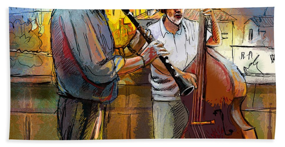 Music Beach Towel featuring the painting Street Musicians In Prague In The Czech Republic 01 by Miki De Goodaboom