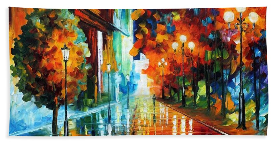 Afremov Beach Towel featuring the painting Street Of Hope by Leonid Afremov