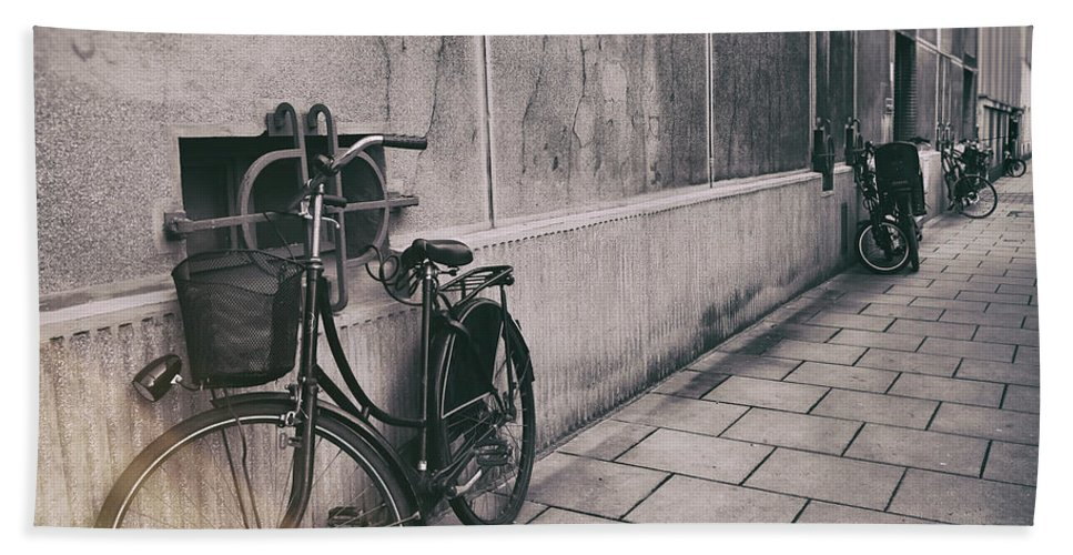 Street Art Beach Towel featuring the photograph Street Photo Bicycle by Justyna JBJart