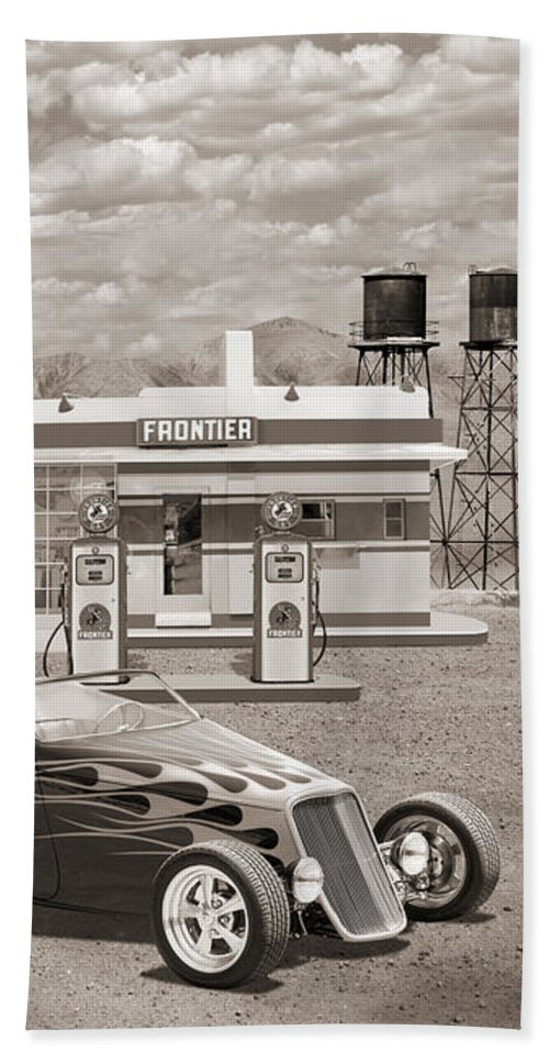 Street Rods Beach Towel featuring the photograph Street Rod At Frontier Station Sepia by Mike McGlothlen