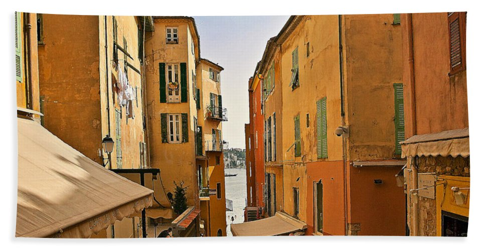 Villefranche Beach Towel featuring the photograph Street Scene In Villefranche by Steven Sparks