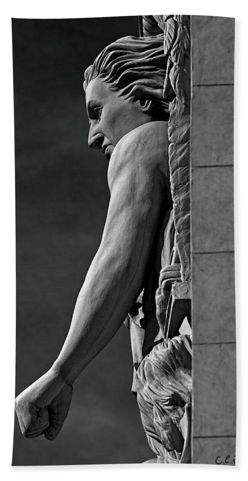 Relief Beach Towel featuring the photograph Strength B-w by Christopher Holmes