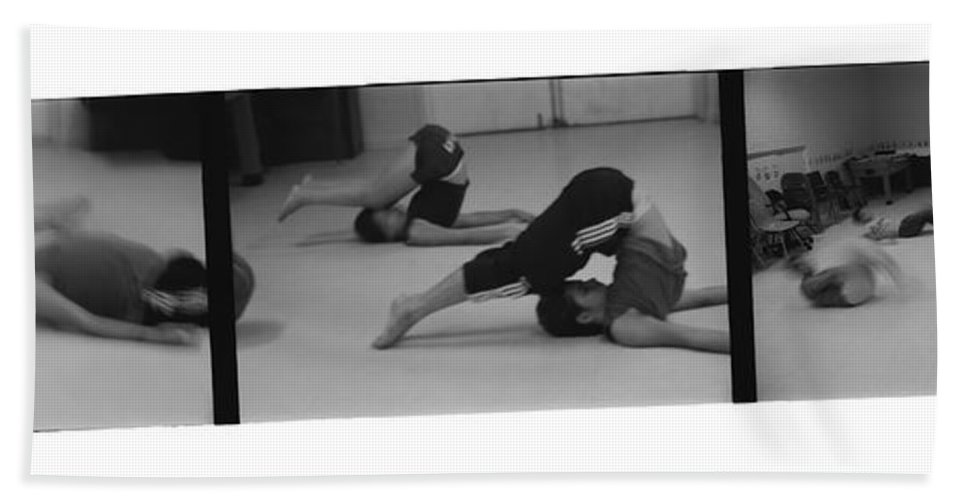 Photo Photography Black And White Digital Graphic Photoshop Rehearse Rehearsal Practice Dance Jazz Ballet Modern Music Stretch Hold Tuck Bend Roll Arch Ball Head Neck Arm Body Leg Foot Feet Knee Room Chair Sofa Couch Floor Sit Seat Wall Door Rules Exit Inverse Negative Dark Beach Towel featuring the photograph Stretch Bend And Roll by Heather Kirk
