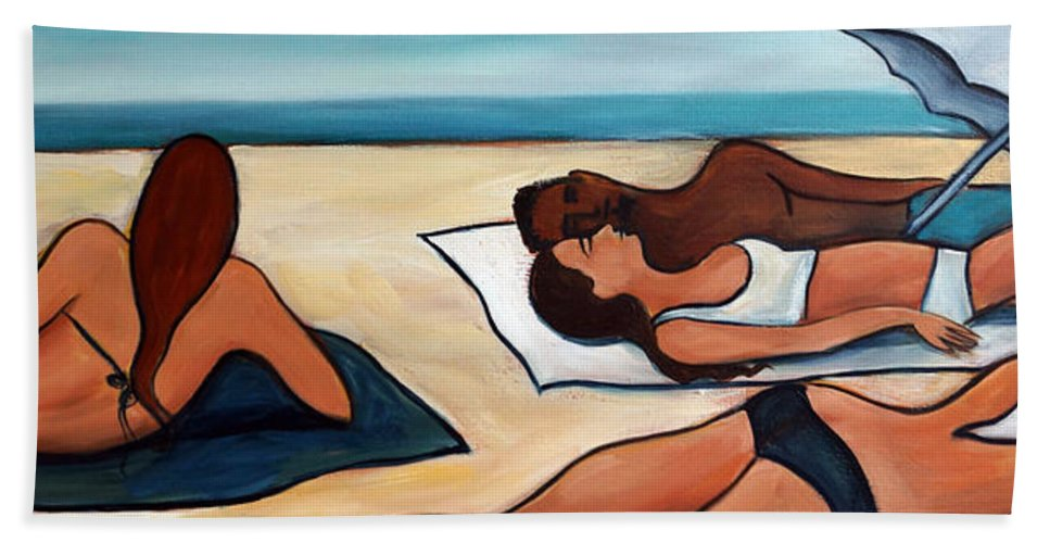 Beach Beach Towel featuring the painting Stretch of Beach by Valerie Vescovi