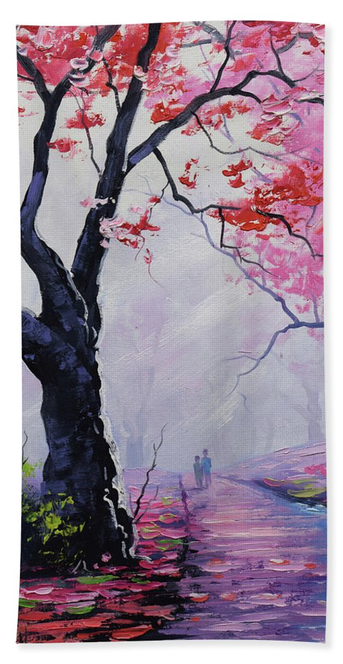 Figures Beach Towel featuring the painting Stroll In The Mist by Graham Gercken