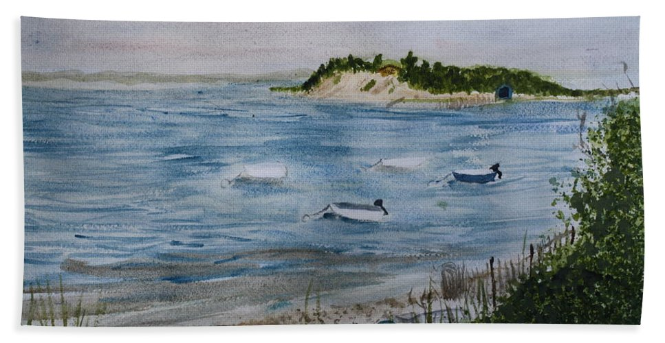 Strong Island Beach Towel featuring the painting Strong Island by Donna Walsh