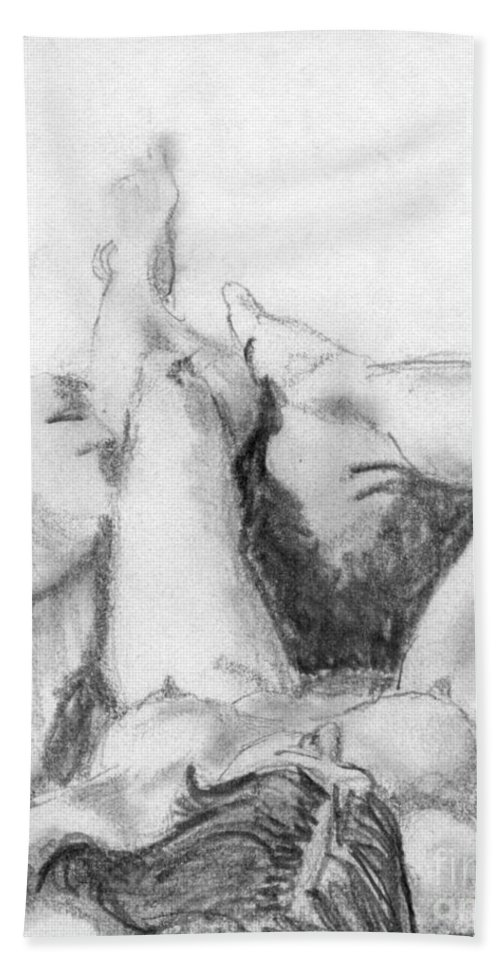 Nude Beach Towel featuring the drawing Student Model by Ron Bissett