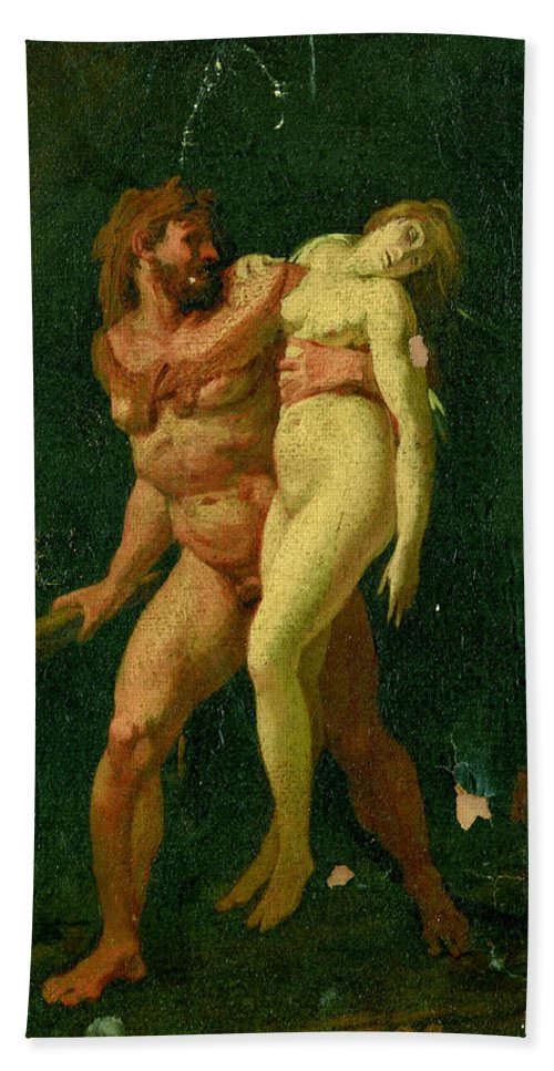 Jean-baptiste Regnault Beach Towel featuring the painting Study For Hercules And Alcestis by Jean-Baptiste Regnault