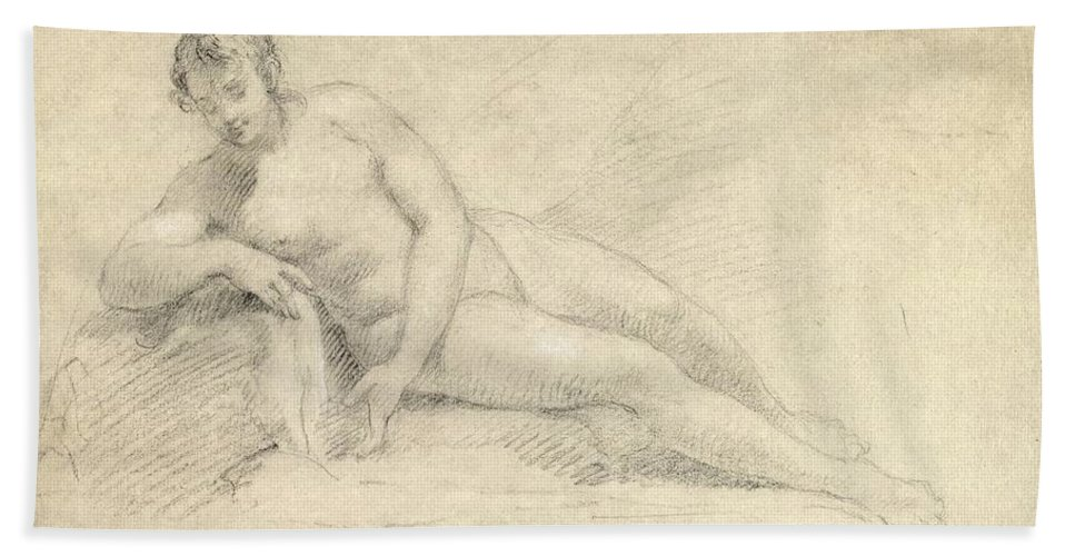 Study Beach Towel featuring the drawing Study Of A Female Nude by William Hogarth
