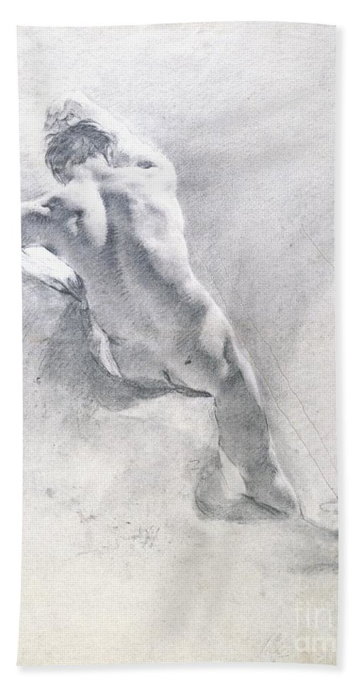 Study Beach Towel featuring the drawing Study Of A Male Nude by Giambattista Piazzetta