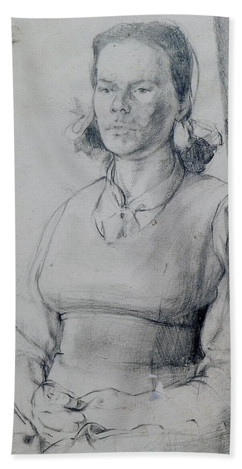 Study Beach Towel featuring the drawing Study Of A Seated Girl. by Harry Robertson