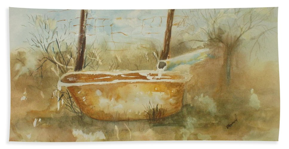 Watercolor Beach Towel featuring the painting Study Of A Watering Tub by Vicki Housel