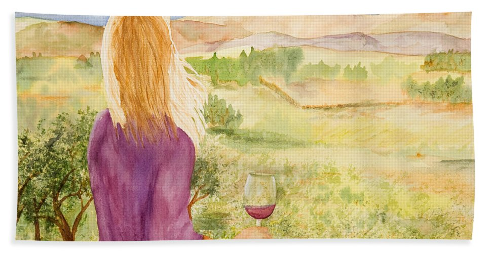 Wine Beach Towel featuring the painting Study Of A Wine Ad by Vicki Housel