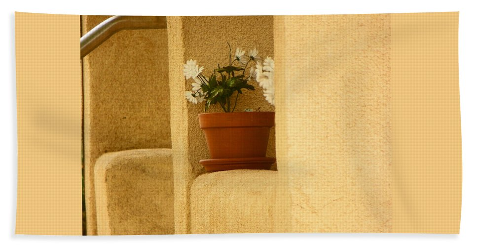 Abstract Beach Towel featuring the photograph Study Of My Neighbors Porch by Lenore Senior