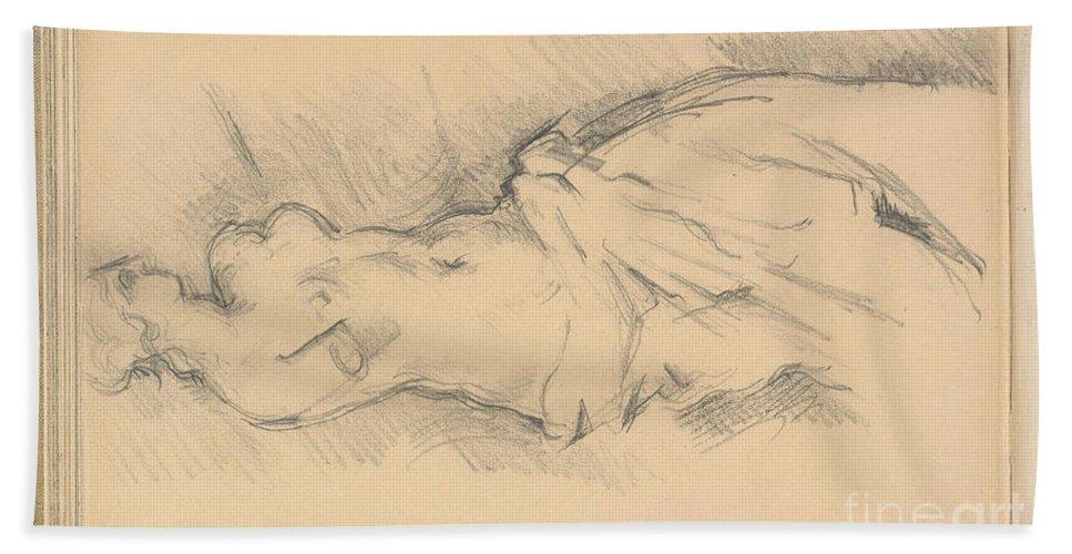 "Beach Towel featuring the drawing Study Of ""venus De Milo"" by Paul C?zanne"