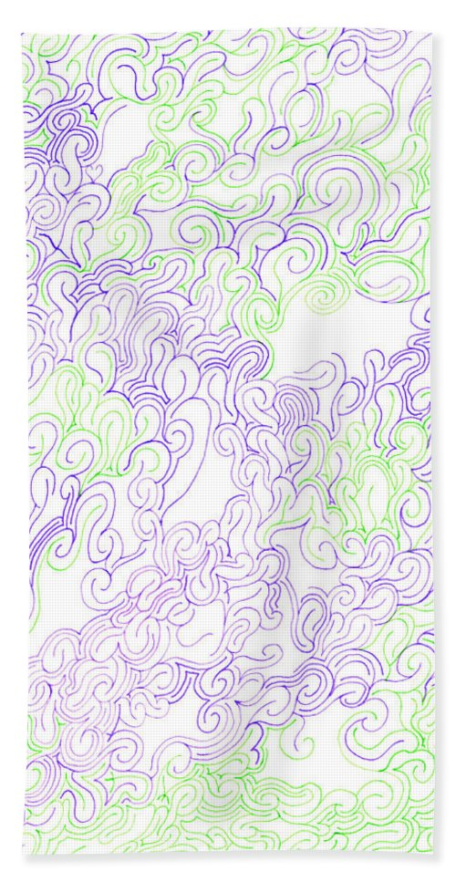 Mazes Beach Towel featuring the drawing Study Purple And Green by Steven Natanson