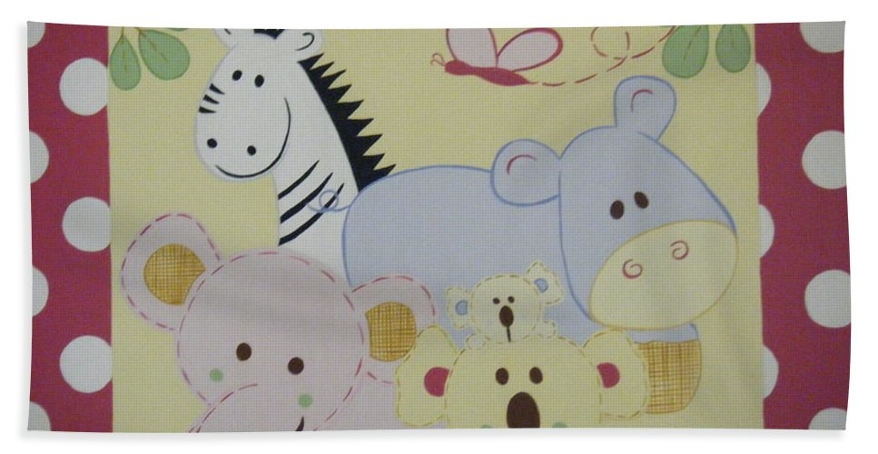 Hippo Beach Towel featuring the painting Stuffed Animals by Valerie Carpenter