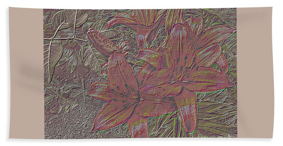Stylized Beach Towel featuring the photograph Stylized Sketch With Lily by Olga Lyakh