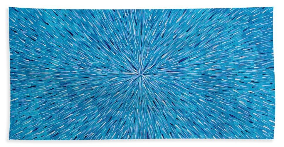 Abstract Beach Towel featuring the painting Su Gaia Rain by Dean Triolo
