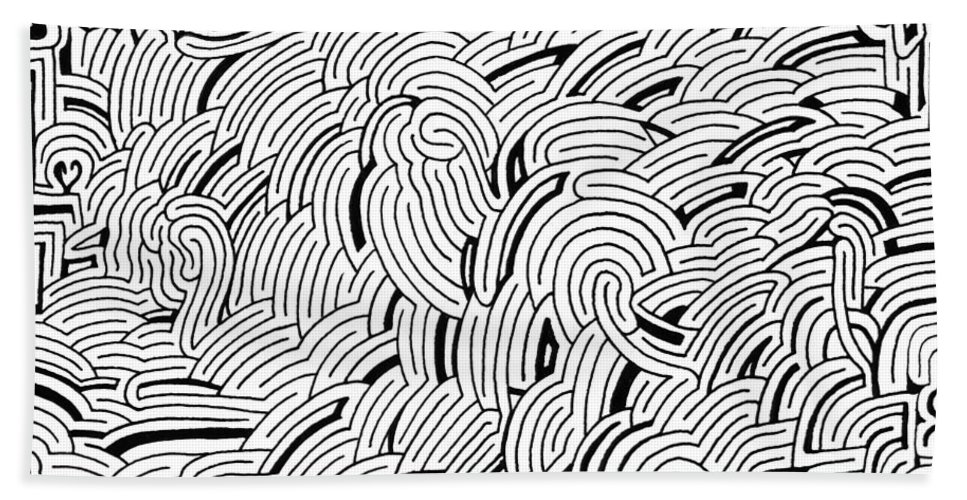 Mazes Beach Towel featuring the drawing Submissive by Steven Natanson