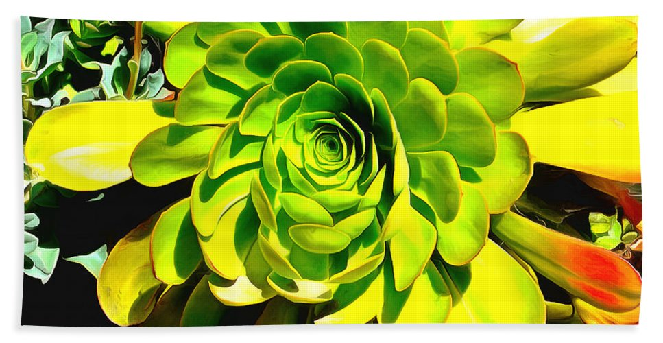 Succulent Close Up Beach Towel featuring the painting Succulent Close Up by Barbara Snyder
