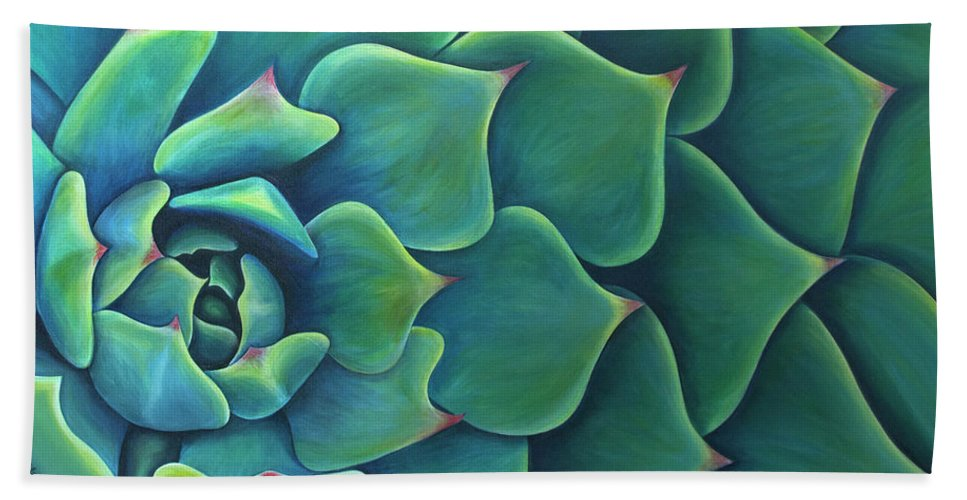 Succulent Beach Towel featuring the painting Succulent Study 2 by Rachel Norsworthy
