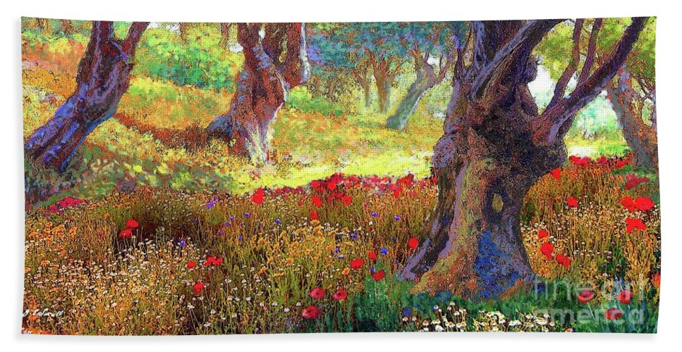 Landscape Beach Towel featuring the painting Poppies and Olive Trees by Jane Small