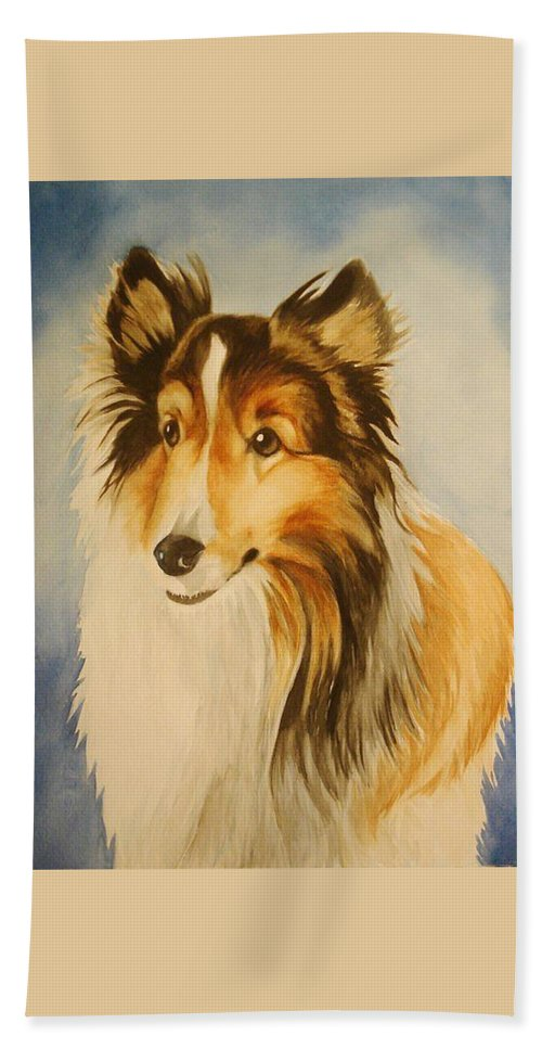 Sheltie Beach Towel featuring the painting Sugar by Marilyn Jacobson