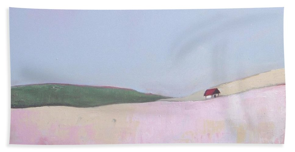 Abstract Landscape Beach Towel featuring the painting Sugar Paradise by Vesna Antic