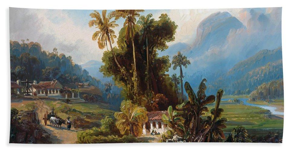 19th Century Art Beach Towel featuring the painting Sugarcane Plantation Of San Esteban Near Puerto Cabello, Venezuela by Ferdinand Bellermann