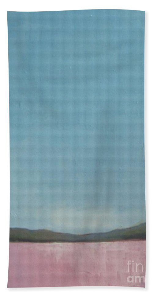 Abstract Landscape Beach Towel featuring the painting Sugarplum Valley by Vesna Antic