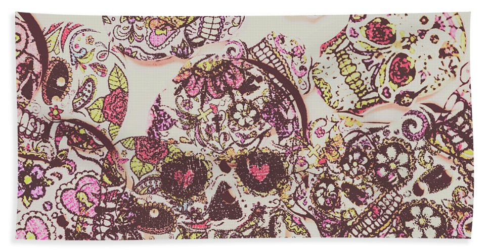 Punk Beach Towel featuring the photograph Sugarskull Punk Patchwork by Jorgo Photography - Wall Art Gallery