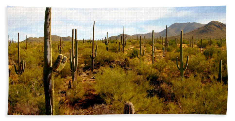 Suguaro Cactus Beach Sheet featuring the photograph Suguro National Park by Kurt Van Wagner