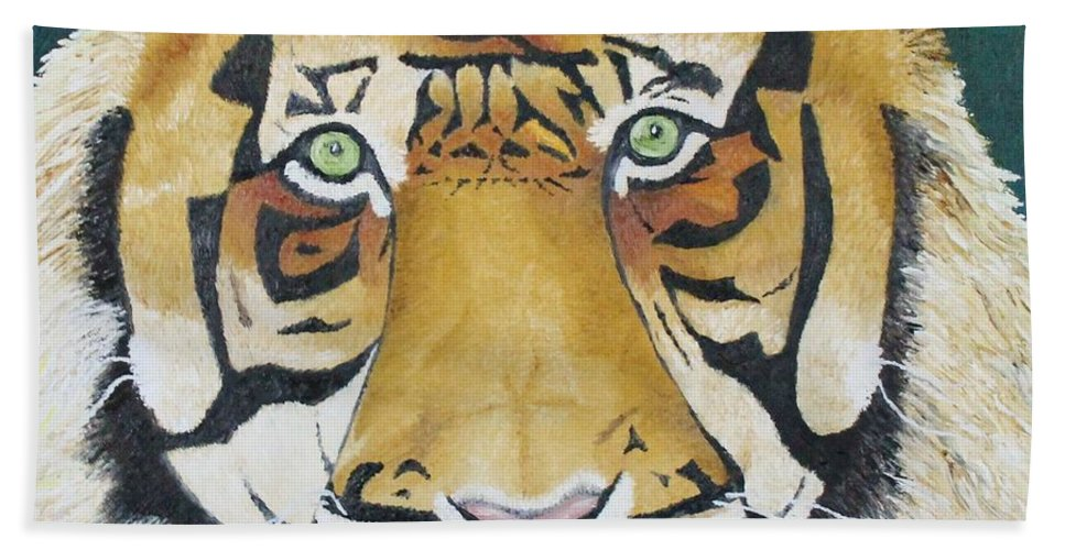 Tiger Beach Towel featuring the photograph Sumatran Tiger by Karen Desrosiers
