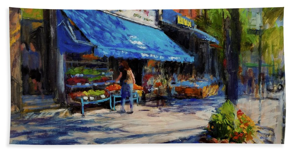 Family Business Beach Towel featuring the painting Summer Afternoon, Columbus Avenue by Peter Salwen