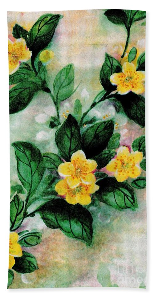 Yellow Beach Towel featuring the painting Summer Blooms by Writermore Arts