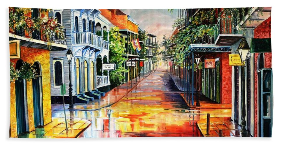 New Orleans Beach Towel featuring the painting Summer Day On Royal Street by Diane Millsap