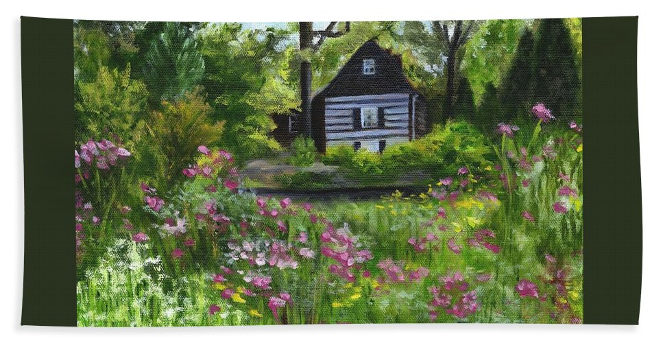 Log Home Beach Towel featuring the painting Summer In Waterford by Deborah Butts