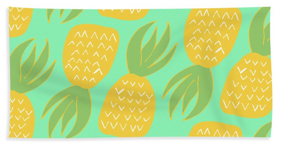Summer Pineapples Beach Towel featuring the digital art Summer Pineapples by Allyson Johnson